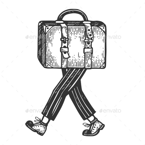 Suitcase Bag Walks on Its Feet Engraving Vector - Miscellaneous Vectors