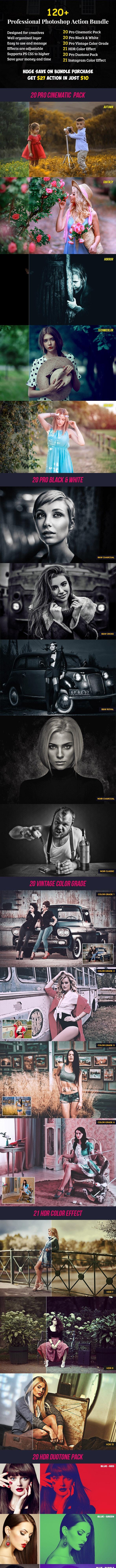 120+ Pro Photoshop Action Bundle - Photo Effects Actions