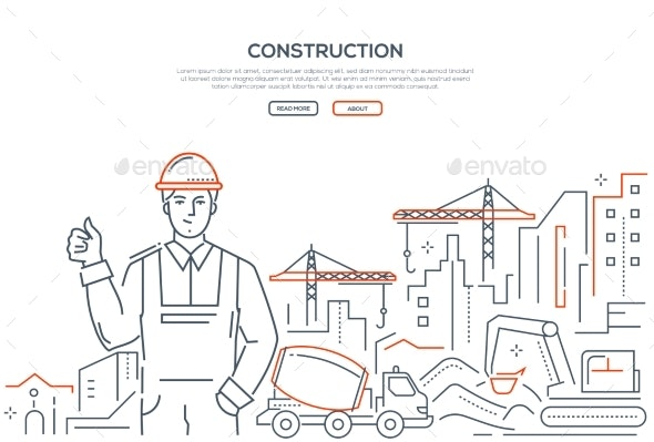 Construction - Colorful Line Design Style Web - Industries Business