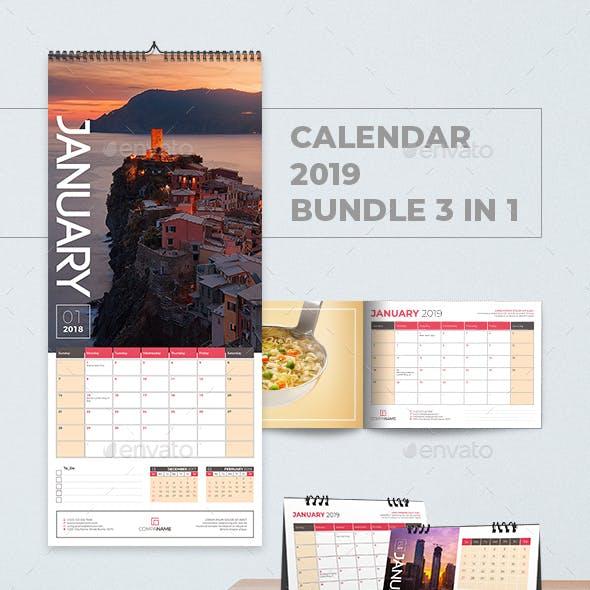 Calendar 2019 Bundle 3 in 1