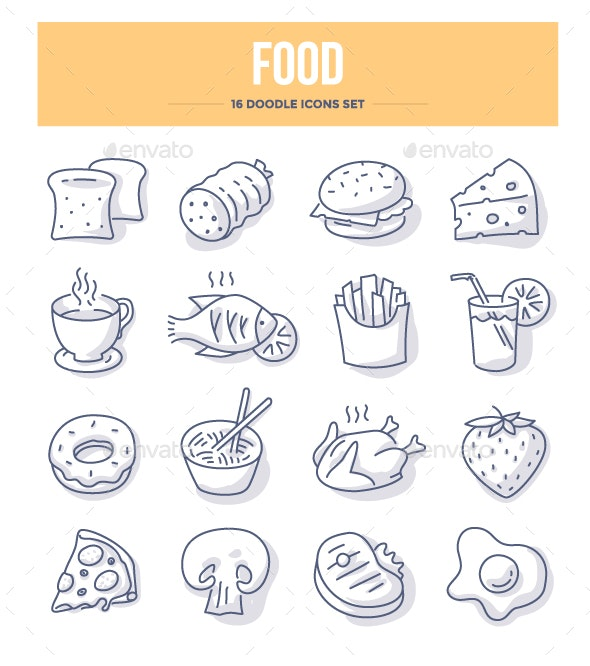 Food & Drink Doodle Icons - Food Objects