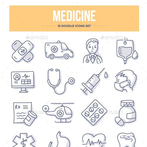 Medicine Doodle Icons