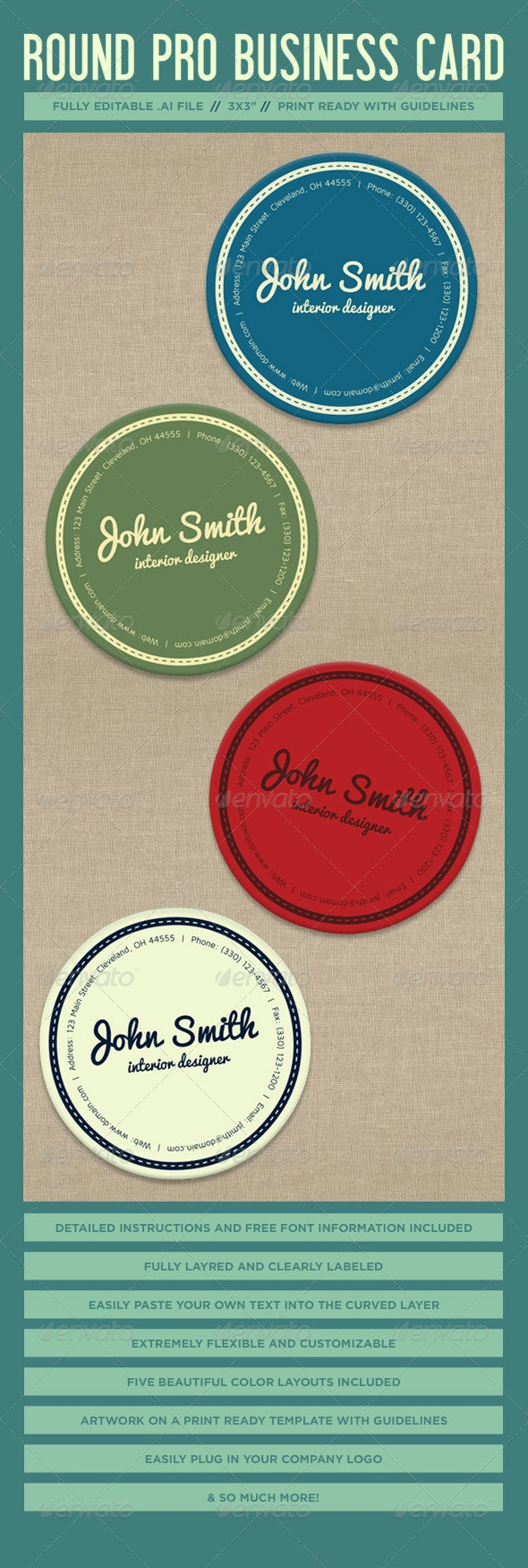 Round Vector Business Card Template - Business Cards Print Templates