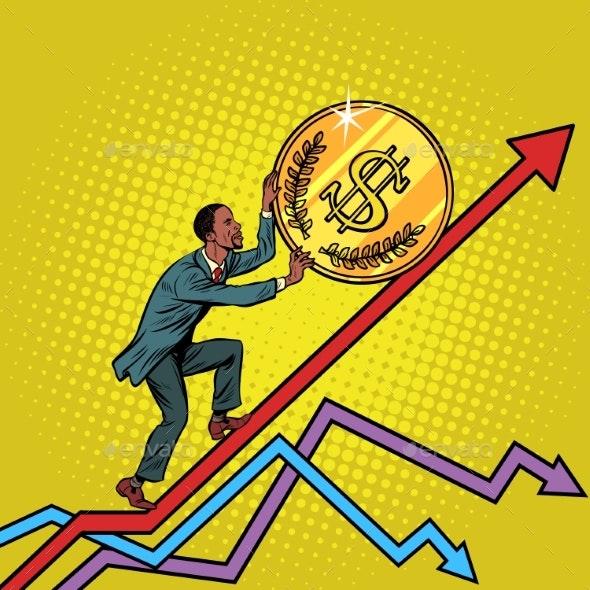 Man Roll a USA Dollar Coin Up - Business Conceptual