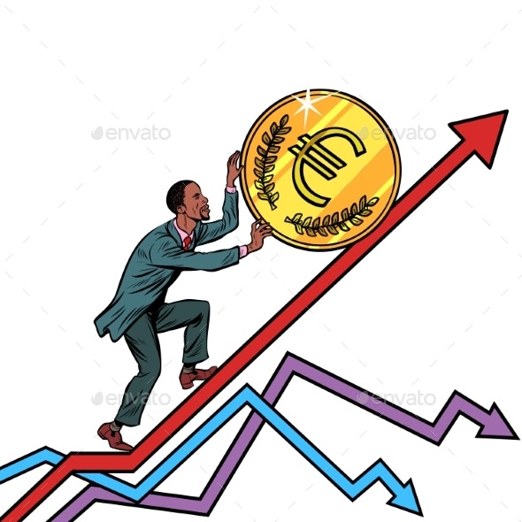 Man Roll a Euro Coin Up - Concepts Business