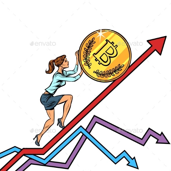 Woman Businesswoman Roll a Bitcoin Coin Up - Concepts Business