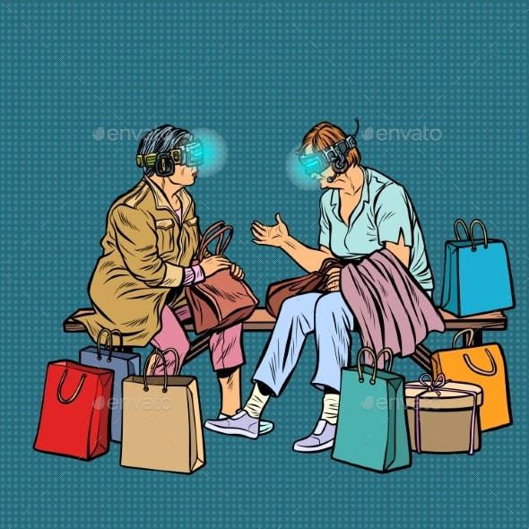 Elderly Women Online Shopping Virtual Reality - People Characters