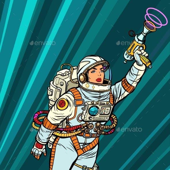 Superhero Woman Astronaut Paratrooper with Blaster