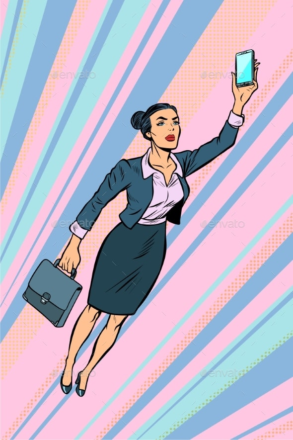 Woman Businesswoman, Superhero Flying - Business Conceptual