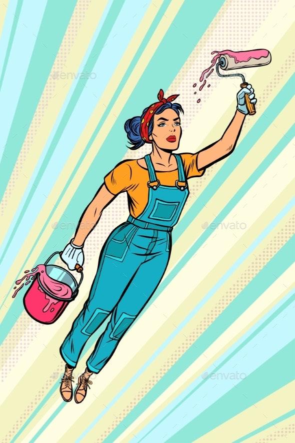 Woman Painter, Superhero Flies - Business Conceptual