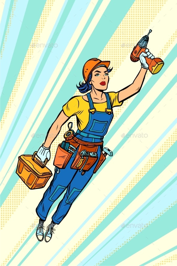 Woman with Drill, Repair and Construction - Business Conceptual