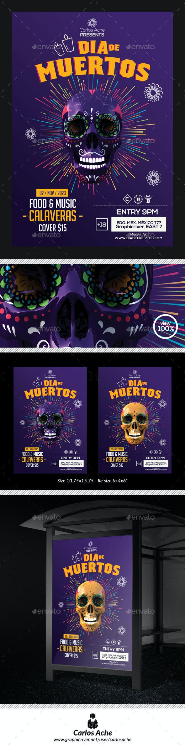 Dia de Muertos Flyer and Poster Template - Holidays Events