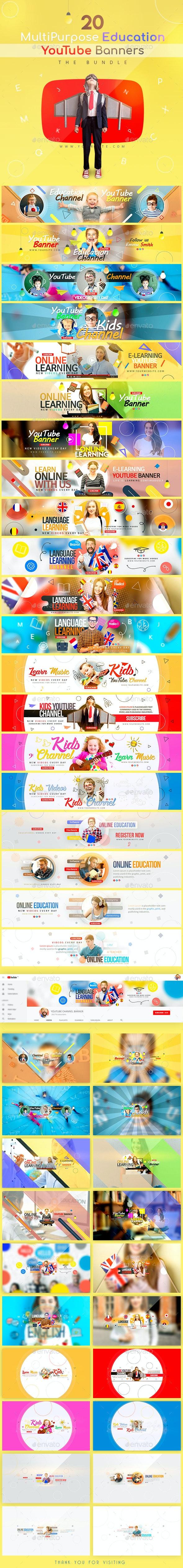 Education Bundle - 20 MultiPurpose YouTube Banners - YouTube Social Media