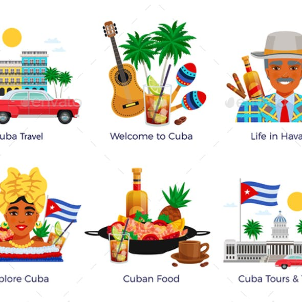 Cuba Travel Icons Set