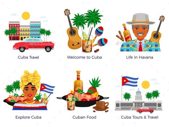 Cuba Travel Icons Set - Food Objects