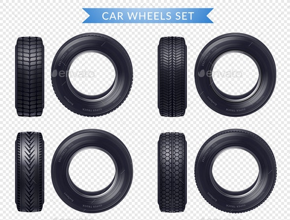 Realistic Car Tires Transparent Set - Man-made Objects Objects