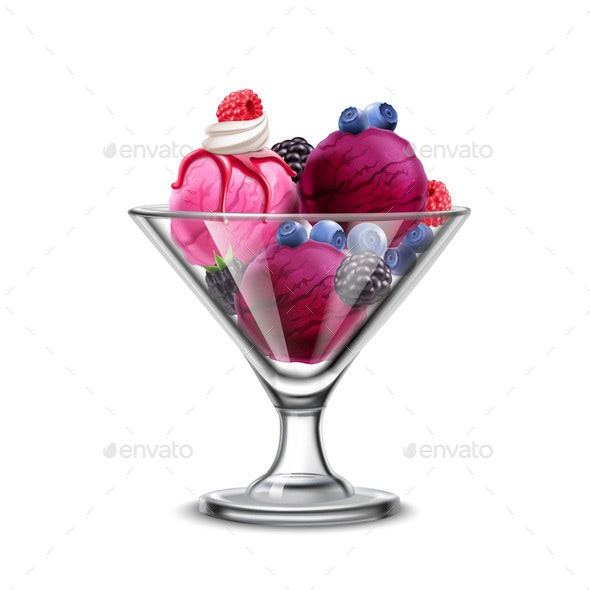 Berry Ice Cream Composition - Food Objects
