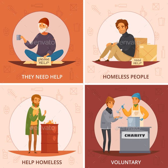 Cartoon Homeless People Icon Set
