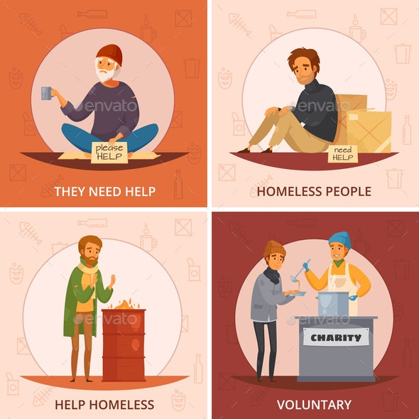 Cartoon Homeless People Icon Set - Food Objects