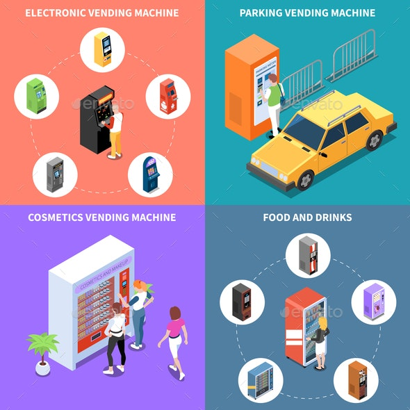 Vending Machines Isometric Design Concept - Food Objects