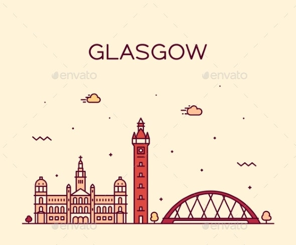 Glasgow Skyline Scotland Trendy Vector Line Style - Buildings Objects