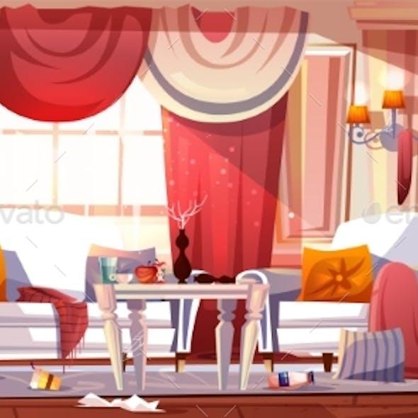 Messy Living Room Full of Garbage Cartoon Vector