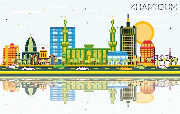 Khartoum Sudan City Skyline with Color Buildings - Buildings Objects