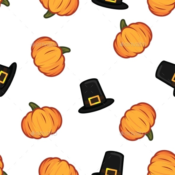 Orange Pumpkin and Black Witch Hat Halloween - Miscellaneous Seasons/Holidays