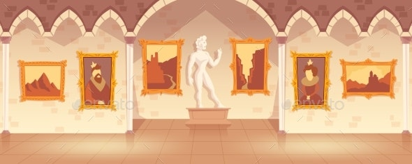 Vector Cartoon Art Gallery in Medieval Palace - Backgrounds Decorative