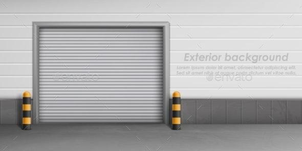 Vector Exterior Background with Closed Garage Door - Backgrounds Decorative