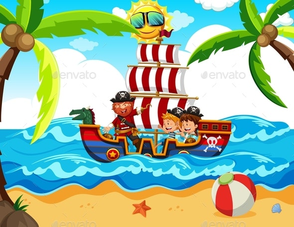 Kids Taking A Pirate Tour - People Characters