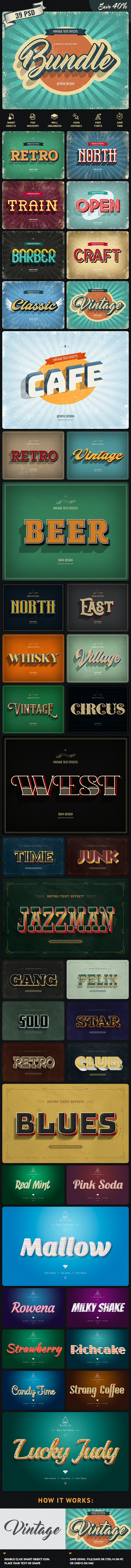 Vintage Bundle - 39 Text Effects - Text Effects Actions