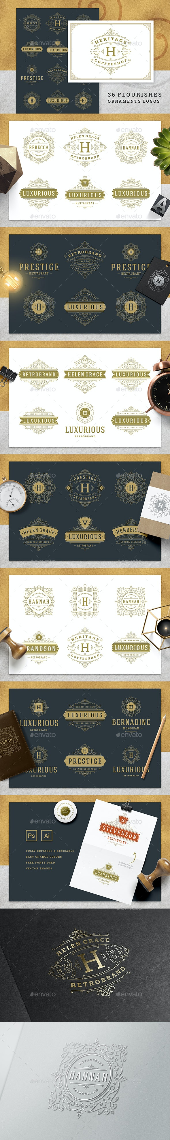 36 Luxury Ornament Logos - Badges & Stickers Web Elements