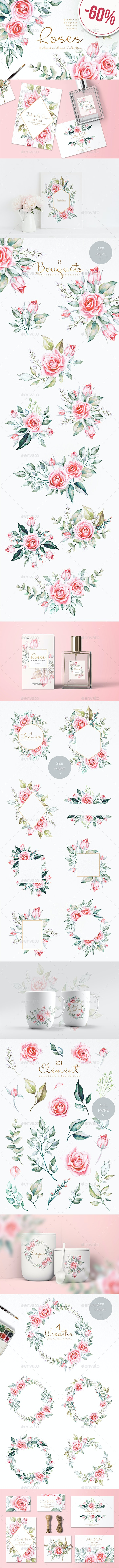 Roses Floral Collection - Flourishes / Swirls Decorative