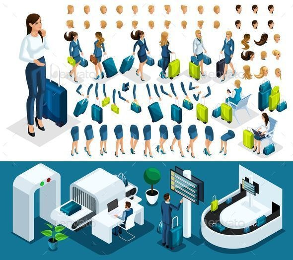 Isometric Create Your Character, Business Lady at the Airport - People Characters