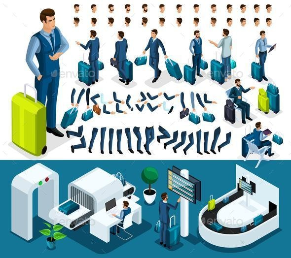 Isometric Create Your Character, Businessman at the Airport - Business Conceptual