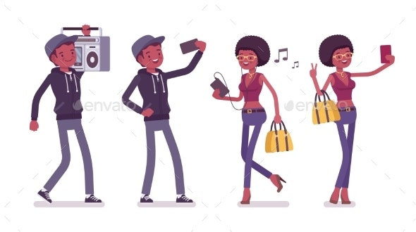 Young Man and Woman with Gadgets and Boombox - People Characters