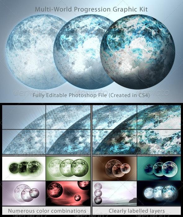 Multi-World Progression Graphic Kit - Tech / Futuristic Backgrounds