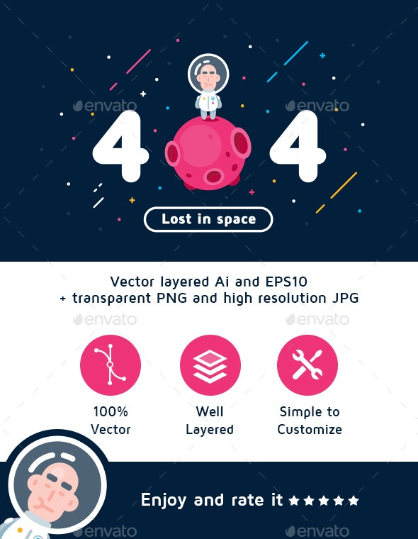 Error 404 Page Lost in Space - 404 Pages Web Elements