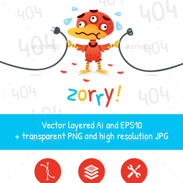 Error 404 Page Red Monster