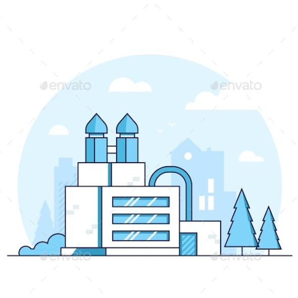 Factory - Modern Thin Line Design Style Vector
