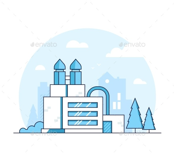 Factory - Modern Thin Line Design Style Vector - Industries Business