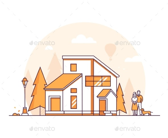 Cottage House - Thin Line Design Style Vector - Buildings Objects