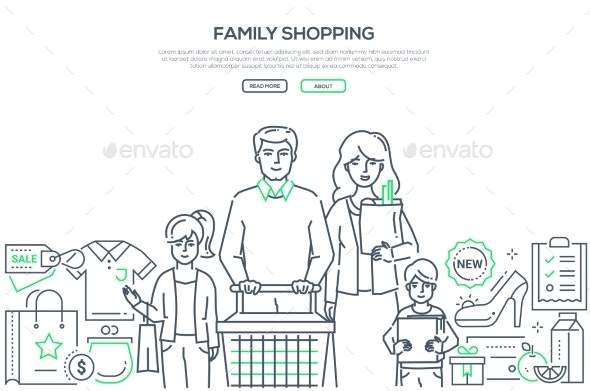 Family Shopping - Modern Line Design Style Banner - People Characters