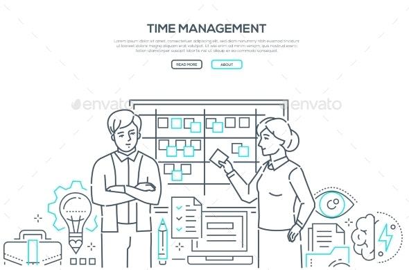 Time Management - Modern Line Design Style Banner - Concepts Business