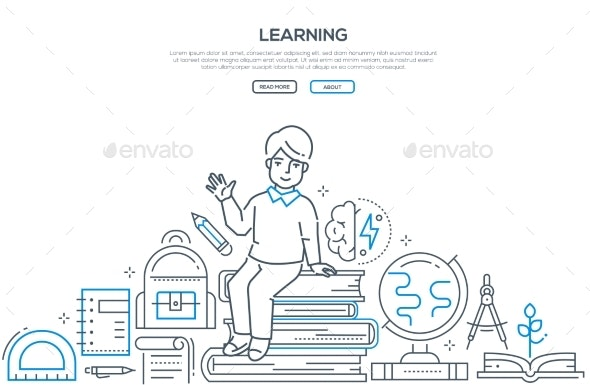 Learning - Modern Line Design Style Vector Banner - Miscellaneous Conceptual
