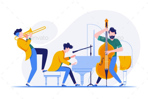 Group of Musicians Playing Classical Instruments - People Characters