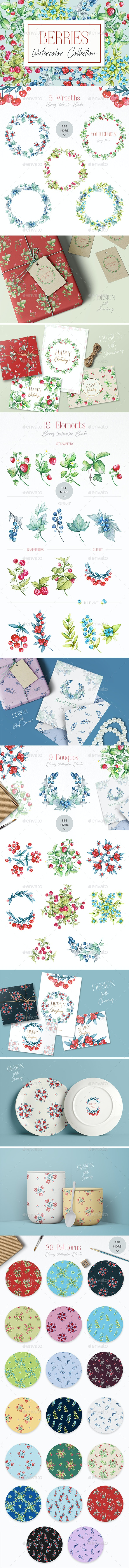 Berries Watercolor Collection - Flourishes / Swirls Decorative
