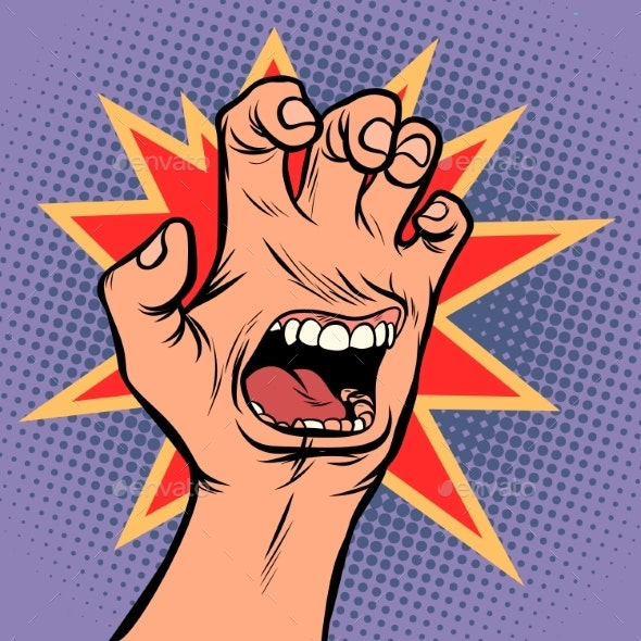 Mouth Emotion Anger Hand Scratch Gesture - Miscellaneous Conceptual