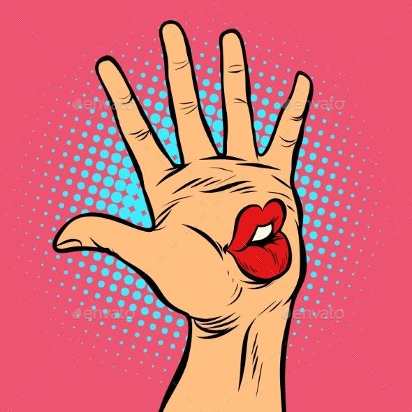 Kiss Lips Mouth Emotion Hi Five Hand Gesture - Miscellaneous Vectors